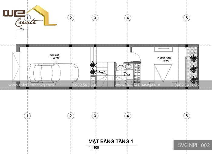 Mat bang tang 1 nha pho hien dai Hai Phong