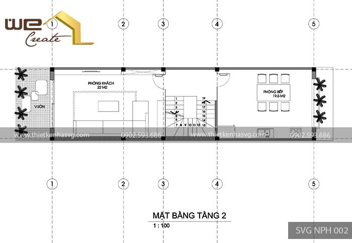Mat bang tang 2 nha pho hien dai Hai Phong