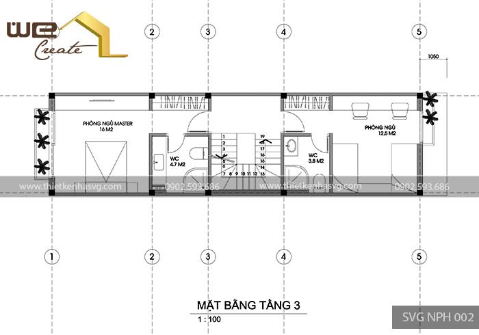 Mat bang tang 3 nha pho hien dai Hai Phong